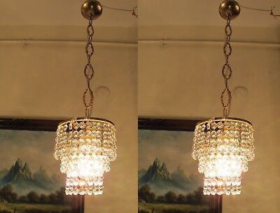 PAIR Antique VNT.Small French REAL Swarovski Crystal Chandelier Lamp 1960's.6 in