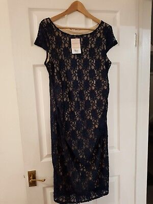 Dorothy Perkins Size 14 Navy Lace Maternity Evening Dress Rrp £30