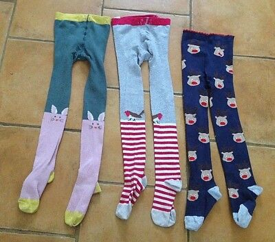 Mini Boden !! Age 7 - 8 Years !! 3 X Warm Winter Tights, Ideal For Christmas !