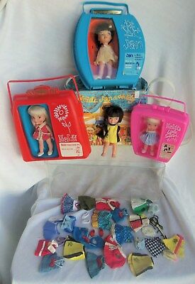Remco Heidi, Jan, Hildy LOT with EXTRA CLOTHING, 3 Hard Cases & Vinyl Case