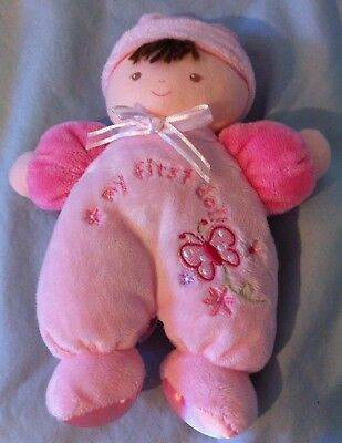 Carters Just One Year My First Doll brunette brown eyes rattle lovey Butterfly