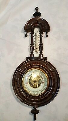 Antique Black Forest Carved Wall Barometer/Weather Station in Solid Walnut