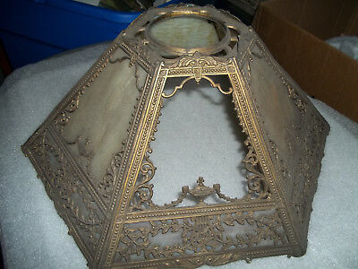 Antique Table Lamp With Ornate Slag Glass Shade W/ Extra Glass
