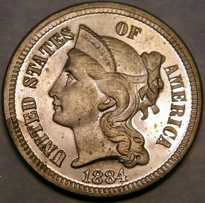 1884 Three Cent Nickel Appealing Very Rare Gorgeous Beauty High Quality Features
