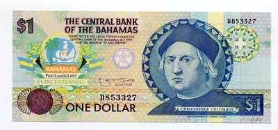 The Central Bank of the Bahamas one dollar  1974 Christopher Columbus UNC