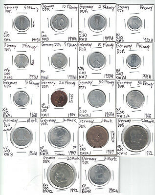 East Germany, DDR, 18 Different Coins, Fine to AU, Carded & Identified