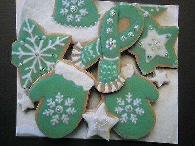 Handmade 3D Christmas cookies with green icing Embellishment! Scrapbooking