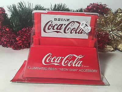 "New Coca-Cola Illuminated Resin ""neon Sign"" Accessory 5"" X 5.5"" On/off 2 ""c"" Bat"