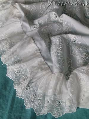 Amazing FINE EMBROIDERY Lace & Batiste Cotton Sheet ANTIQUE c1900