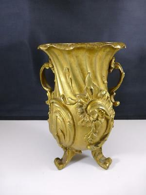 Antique French Gilt BRONZE Footed Rococo Vase Baroque Empire