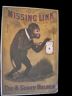 "Victorian Trade Card=E & W.-""TIE & SCARF HOLDER""= Monkey's ""MISSING LINK"" sign"