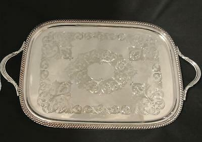 Early Silver Plate  L B S Co. Footed 28 In Waiters Tray Serving Butlers Tray