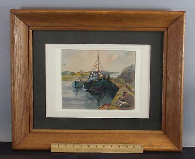 Vintage LILIAN GROW Watercolor Painting, Rockport Massachusetts Fishing Harbor