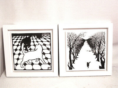 Vtg Pr Museum of Modern Art MMA Black White Cat FV Felix Vallotton Framed Tiles