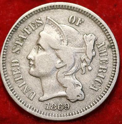 1869 Philadelphia Mint Nickel Three Cent Coin Free Shipping