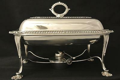 Victorian Early English William Hutton & Sons Silver Plate Entree Dish Chafing