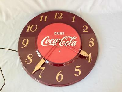 "Coca Cola Clock 17 3/4"" Round Button Coke Working Order"
