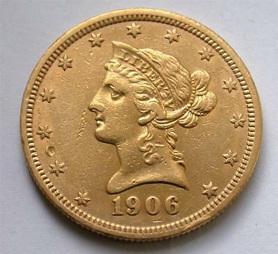 1906-D $10 Ten Dollar Liberty Eagle United States Gold Coin