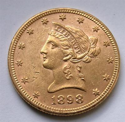 1898 $10 Ten Dollar Liberty Eagle United States Gold Coin
