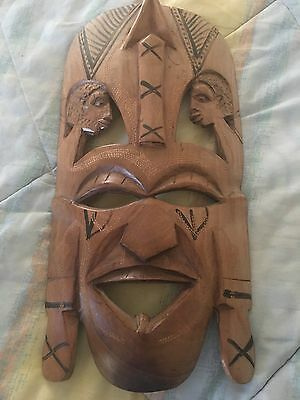 Wooden Tiki  Tribal Folk Art Wall Mask 14 1/2 inch