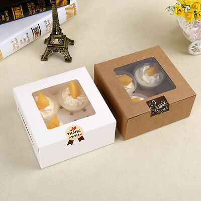5pcs Kraft Paper Cookie Cake Packaging Box with Plastic PVC Window for Candy New