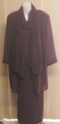 NONI Mulberry Formal 4 Pc Evening Outfit Size 20 - Skirt Top Jacket Scarf