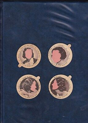 1934 Dixie Lid Movie Star Lot  4 Different Hard To Find Mystery Lids   Authentic