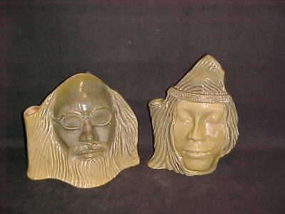 VTG POP CULTURE PAIR 1960's HIPPIES MAN & WOMAN CANDLE HOLDER VASE JERRY GARCIA