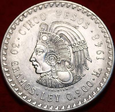 Uncirculated 1948 Mexico 5 Pesos Silver Foreign Coin Free S/H!
