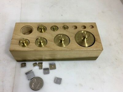 BRASS TROY WEIGHT SET, Balance Scale, Wooden Stand, NO RESERVE!