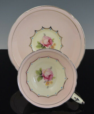 Vintage Scarce Footed PARAGON CUP & SAUCER PINK CABBAGE ROSE w BLUE DOTS NR