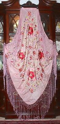 Immaculate Embroidered Silk Floral Piano Shawl