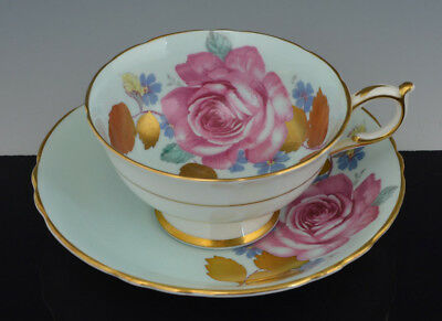 Vintage Rare Footed PARAGON CUP & SAUCER BLUE & GOLD  XL CABBAGE ROSE ROSES NR