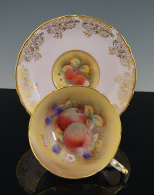 Vintage Rare Footed PARAGON CUP & SAUCER PINK & GOLD Signed F D HALL w FRUITS NR