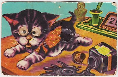 RARE ca1910  KITTEN POSTCARD NOVELTY GOOGLE GOOGLY EYES SQUEAKY SENT 1957 SCARCE