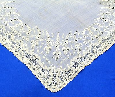 Antique Large Rich  Embroidered Drawnwork Lace Wedding  Hanky Doily?