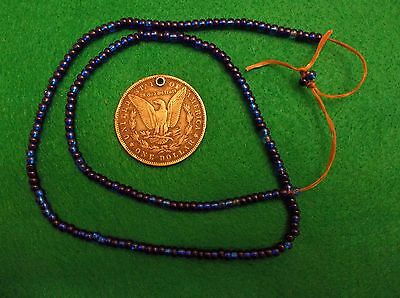 New York  Iroquois Collection Old Trade Beads Cobalt Blue Glass Bead Beautiful