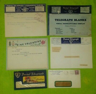 Postal Telegraph Telegram Lot Valentine and Several Other Pieces