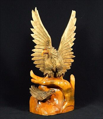 Antique BLACK FOREST CARVING of Eagle Protecting Its Young