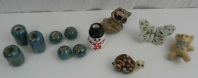 Vintage Lot of 12 Large Ceramic Macrame Beads Butterfly Snail Bear SnowmanRacoon