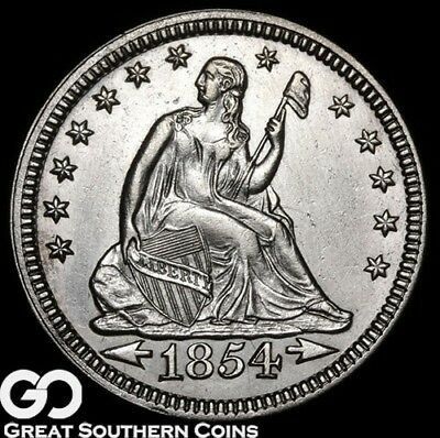 1854 Seated Liberty Quarter, ARROWS, Very Sharp White Better Date Silver Type!