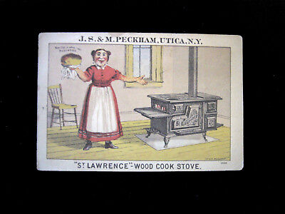 "Victorian Trade Card=Peckham ""ST LAWRENCE"" WOOD COOK STOVE-Oven Bread=Clinton-NY"