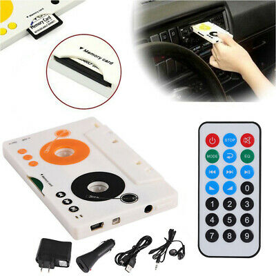 Car Tape Cassette SD MMC MP3 Player Adapter Kit With Remote Control Earphone DH