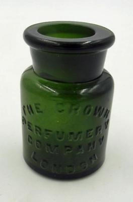 "Antique Crown Perfumery Company London 3 1/2"" Emerald Green Perfume Bottle"