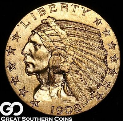 1908-S Half Eagle, $5 Gold Indian, Better Date San Francisco Issue, ** Free S/H!