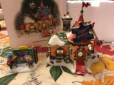 Department 56 Dept 56 Jolly Jigsaw Puzzle Workshop  With Extra Add-On Sign
