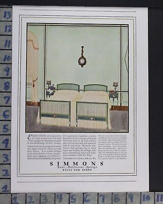 1923 Simmons Mattress Sleep Bed Room Interior Home Decor Vintage Art Ad  Cr33