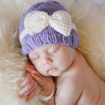 Newborn Baby Girl Boy Infant Toddler Bow Knit Crochet Hat Winter Warm Beanie Hot