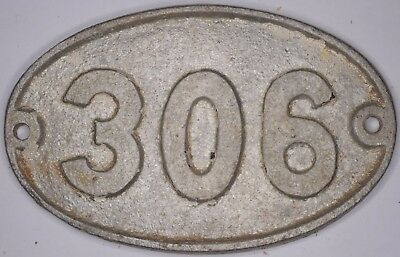 Old English cast metal oval house number 306 door gate plate fence plaque sign
