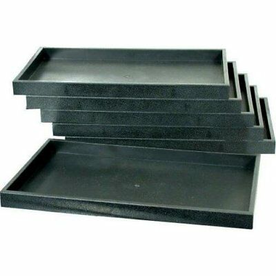 6 Black Plastic Jewelry Case Stacking Display Trays